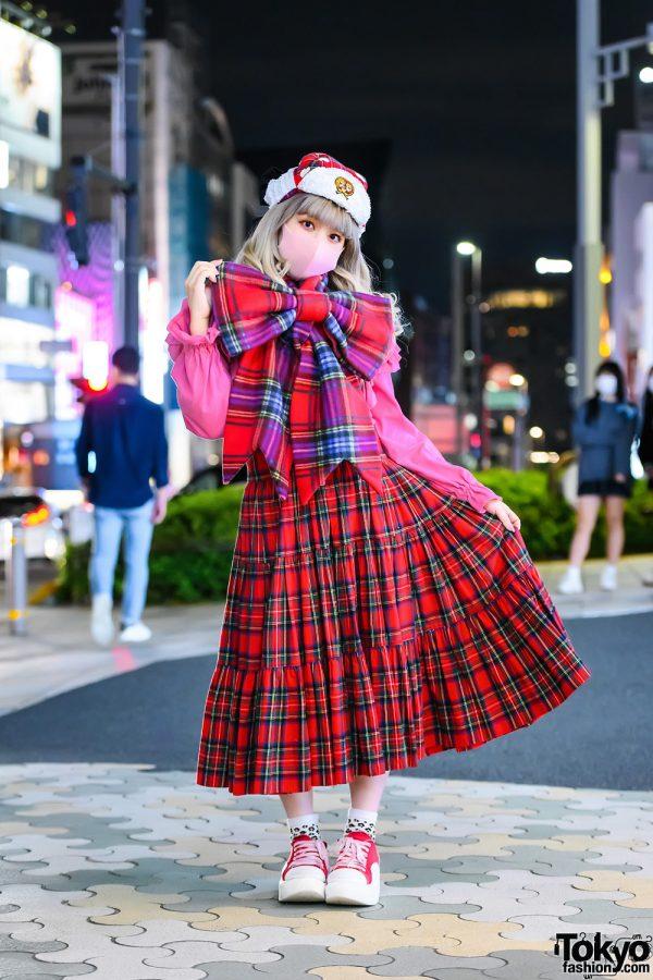HEIHEI Giant Bow Muffler, HEIHEI Plaid Dress & Tokyo Bopper Platform Shoes in Harajuku