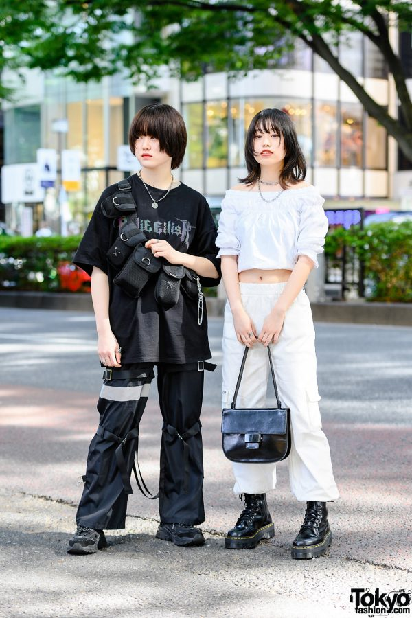 Black x White Japanese Streetwear Styles in Tokyo w/ Billie Eilish T-Shirt, Tactical Bags, Reflector Strap Pants, Off-Shoulder Top, Prada, Dr. Martens & 23.65 Sneakers