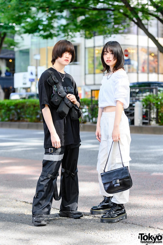 Black x White Japanese Streetwear Styles in Tokyo w/ Billie Eilish T-Shirt, Tactical Bags, Reflector Strap Pants, Off-Shoulder Top, Prada, Dr. Martens & 23.65 Sneakers