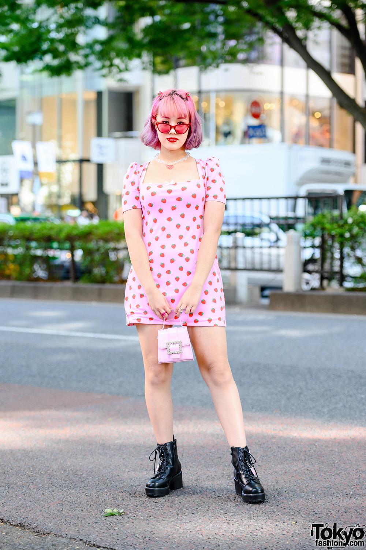 Chic Pink Tokyo Street Style w/ Ombre Hair, Heart Necklace, O-Mighty Strawberry Print Dress, Sugar Thrillz Mini Handbag & Dolls Kill Boots
