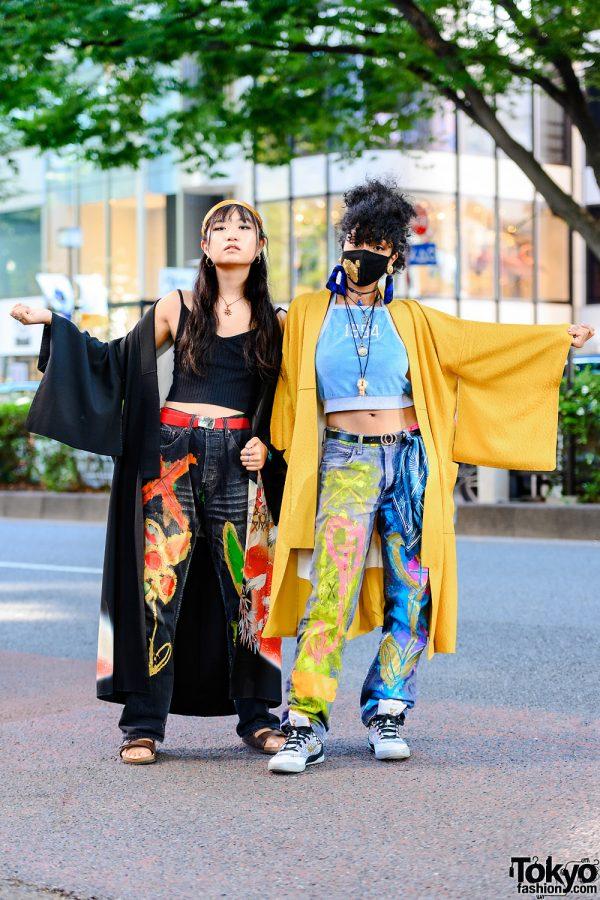 Tokyo Girls in Kimono & Hand-Painted Jeans w/ Headscarf, Hanayagi Kimonorobe, Levi's x Munenori Tamagawa, Birkenstock & Jordans