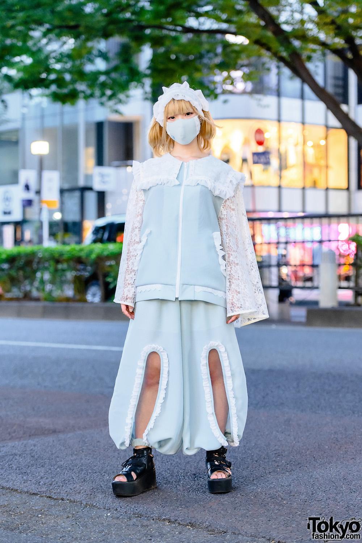 Udakyo Japanese Fashion Designer in Harajuku w/ Frilly Setup, Face Mask, Ruffled Lace Headdress, Pastel Jacket, Cutout Balloon Pants & Yosuke Gladiator Platforms