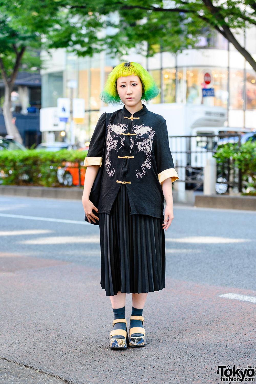 Green-Yellow Hair Harajuku Street Style w/ Dragon Knot Buttons Shirt, Ginga Nagareboshi Gin Bag, Pleated Skirt & Yosuke Platforms