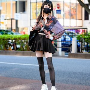 Chic Vintage Tokyo Style w/ Asymmetric Bangs, Tassel Earrings, Tie Waist Shirt, Pleated Dress, Danielle Nicole Disney Princess Tote, Vivienne Westwood & Just About Platform Sneakers