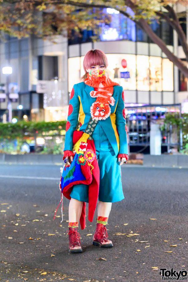 Handmade Knitwear Harajuku Street Style w/ Cutout Suit, Knit Muffler, Knit Bag & Dr. Martens