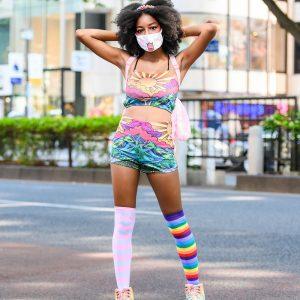 Harajuku Girl in Colorful Fashion w/ Cat Face Mask, Current Mood California Dreamin' Shorts & Tank, The Kawaii Shoppu Bag & YRU Platforms