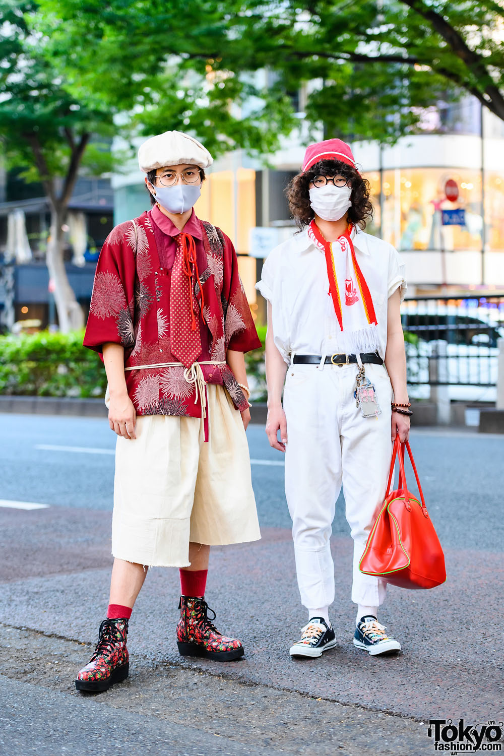 Harajuku Guys' Color-Coordinated Street Styles w/ Kimono Jacket, Handmade Fashion, Levi's Cuffed Pants, Remake Converse Sneakers & Alter Venomv Strawberry Boots