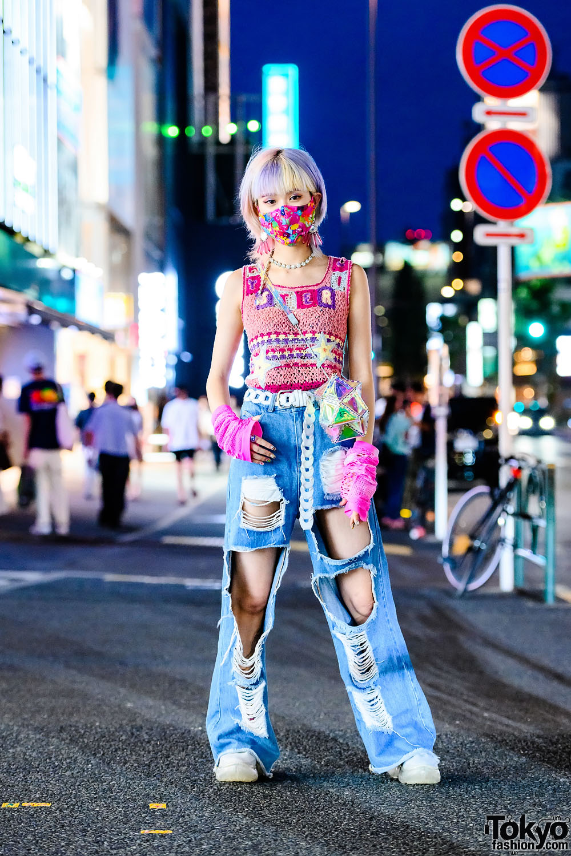Harajuku Girl w/ Pastel Hair, Vintage Hysteric Glamour Knit Top, Fig & Viper Cutout Pants, 52 By Hikaru Matsumura Geometric Bag, VidaKush & Grounds By Mikio Sakabe Sneakers