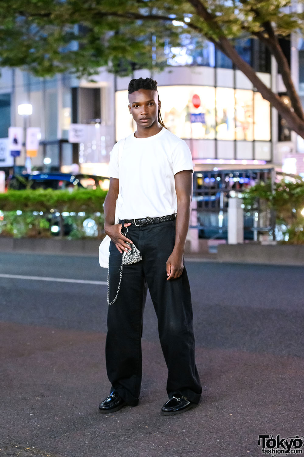 Fashion Model Joseph Oxley On The Street in Tokyo w/ Monochrome Style, IKEA & Things Shop Jo Face Mask