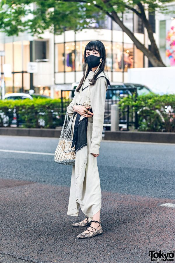 Monochrome Street Style in Tokyo w/ Long Fringe Earrings, Acne Studios Dress, Louis Vuitton, Gucci, Net Bag & Pointy Snakeskin Pumps