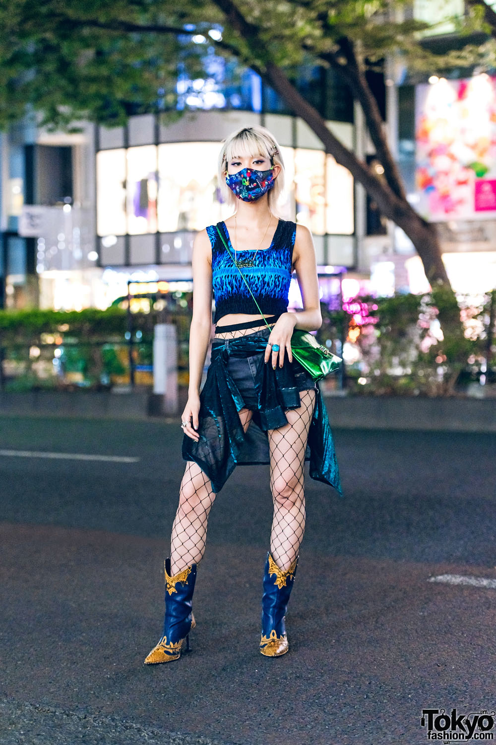 Harajuku Street Style w/ Bluesis Crop Top, Scarf Skirt Over Shorts, Fishnets, Tender Person & Yello Cowboy Boots
