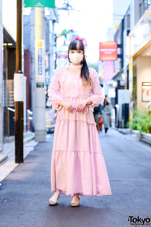 RinRin Doll in Harajuku Street Style w/ Barrack Room Dress, Handmade by Aiko Miyamoto Scrunchie, Moca Tokyo Dangling Earrings & Emily Temple Cute Bow Shoes