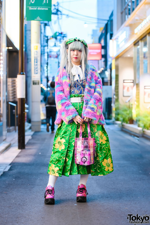 Colorful Kawaii Harajuku Street Style w/ Ash Grey Twin Tails, ACDC Rag Furry Jacket, Romantic Standard, Spinns, Floral Print, Decotoland, Yuriko Eto Tote & WC Dragon Shoes