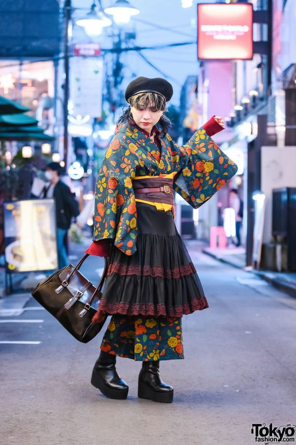 Vintage Floral Kimono Street Style w/ The Mondays Skirt, Layered Belts, Beret, Vintage Handbag, Statement Earrings & Platform Boots