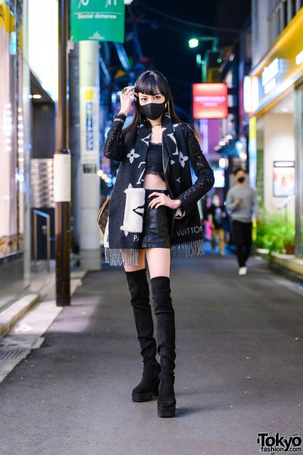 Chic LV Tokyo Street Style w/ Rhinestone Makeup, Gucci Snake Head Ring, Alexander McQueen x Sportmax Blazer, Spiga, Louis Vuitton Reykjavik Scarf & Mouse Thigh High Suede Boots