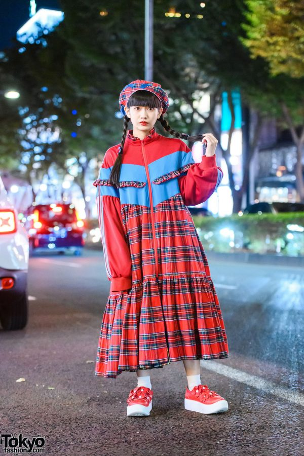 HEIHEI Red Plaid Dress & Braided Twin Tails in Harajuku w/ HEIHEI Beret & Tokyo Bopper Floral Shoes