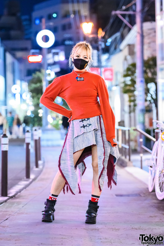 Japanese Singer on Cat Street in Harajuku Wearing M.Y.O.B., Vivienne Westwood & Yosuke