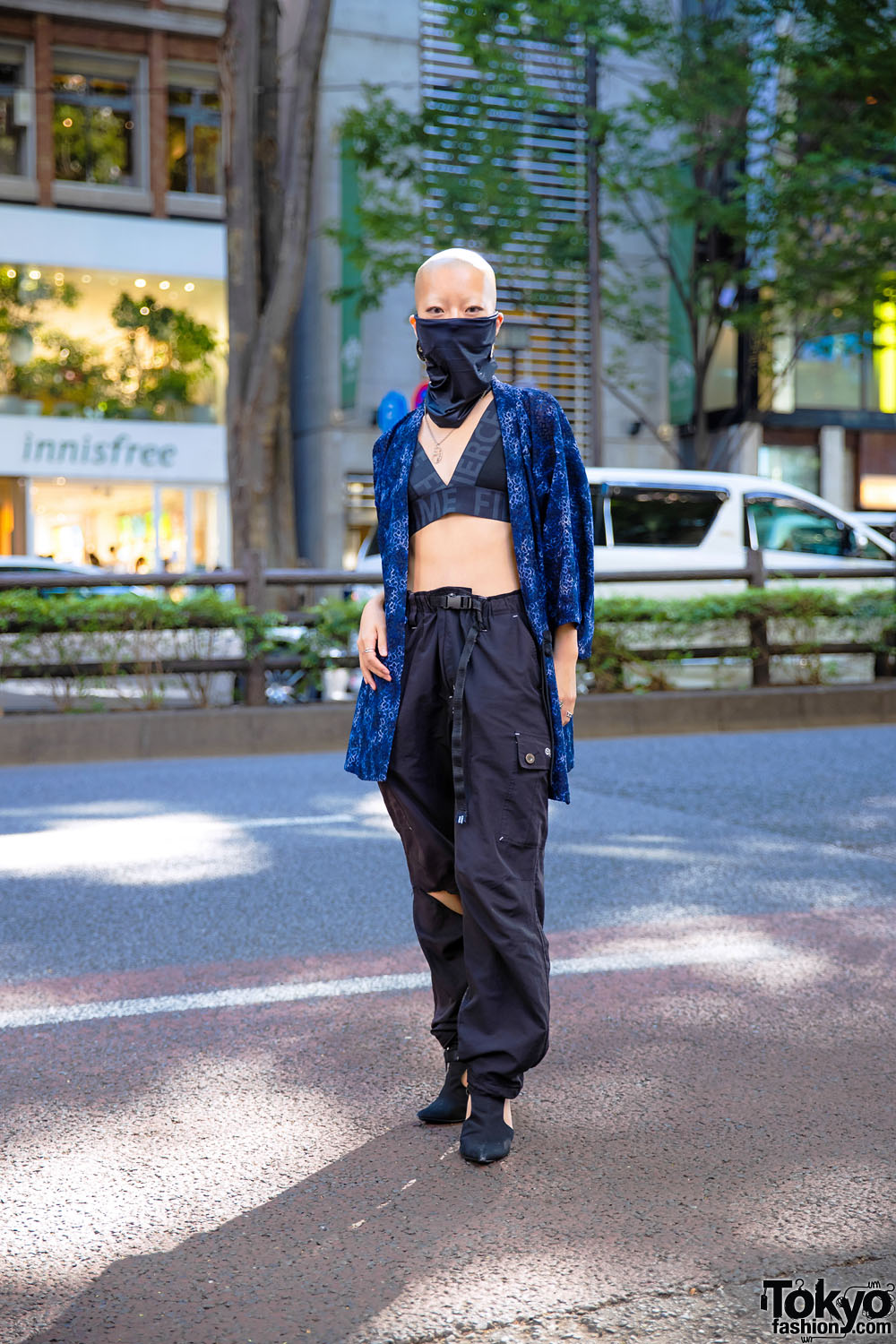 Tokyo Kimono Street Style by Shaved Head Female Japanese Model w/ Face Mask, Honwaka, Parachute Pants & Cutout Booties