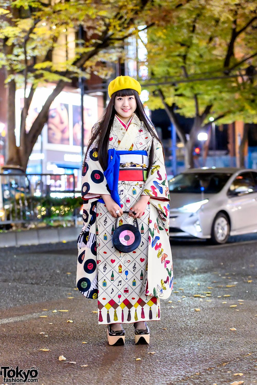 Tsumori Chisato Kimono, Erostika, Vinyl Record Handbag & Vivienne Westwood Rocking Horse Shoes in Harajuku