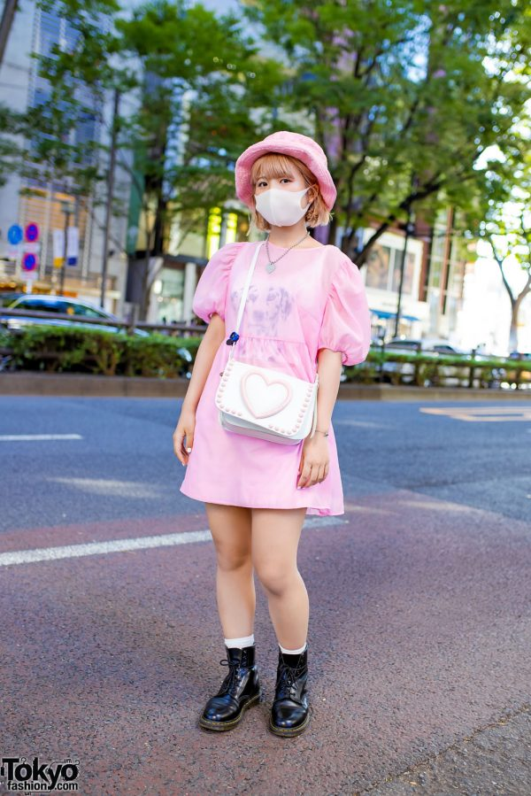 Cute Pink Harajuku Street Style w/ iGirl Heart Necklace, Milk Furry Hat,  Sheer Dress, Dalmatian Top, Tokyo Bopper Heart Bag & Dr. Martens Boots