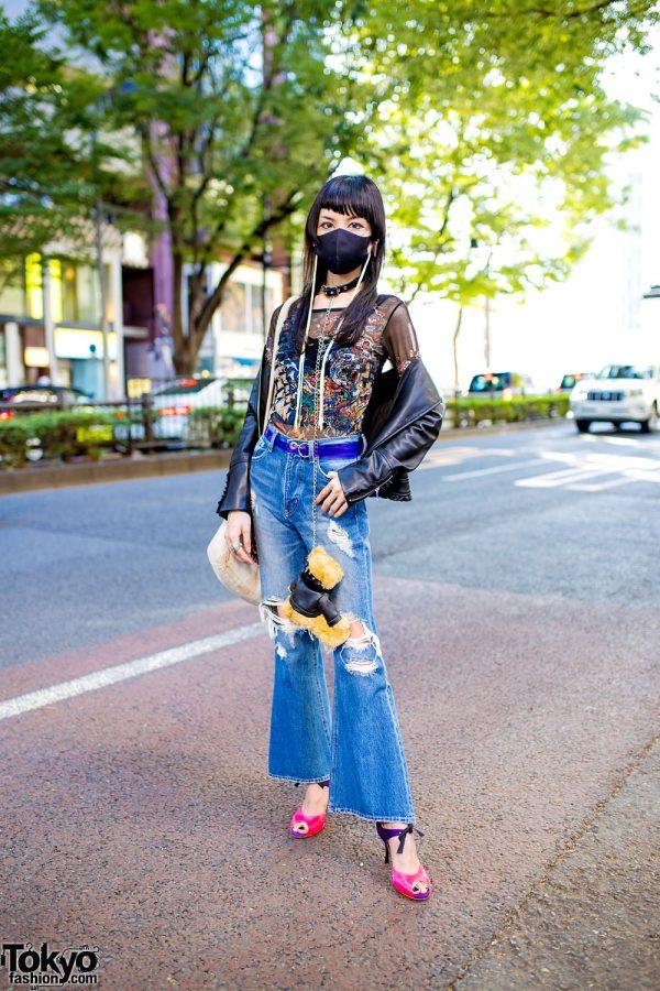 Japanese Student Street Style w/ Tassel Earrings, Teddy Bear Chained Choker, Zara Faux Leather Jacket, Gyda Flared Jeans, Vivienne Westwood & Comme Il Faut d'Orsay Heels