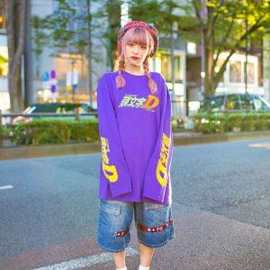 HEIHEI x Initial D Harajuku Street Style w/ Plaid Beret, Initial D Sweatshirt, Marithe + Francois Girbaud Denim Shorts & Tokyo Bopper Bow Shoes