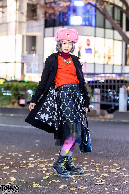 Japanese Student in Faux Fur Winter Hat, Vintage Cage Skirt, Vivienne Westwood & Dr. Martens
