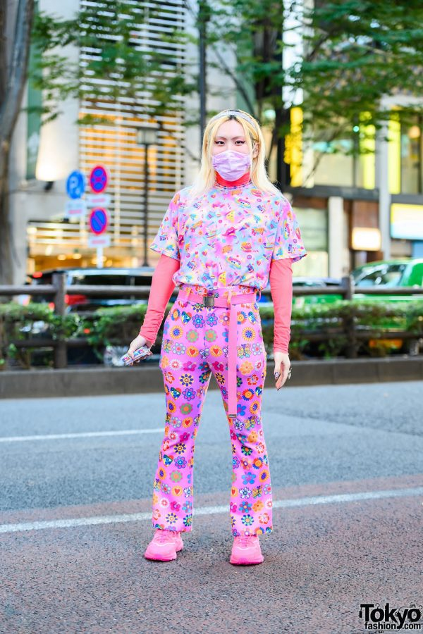 Colorful Kawaii Harajuku Gender Neutral Street Style w/ 6%DOKIDOKI Top, Kobinai Floral Print Pants & Adidas Sneakers