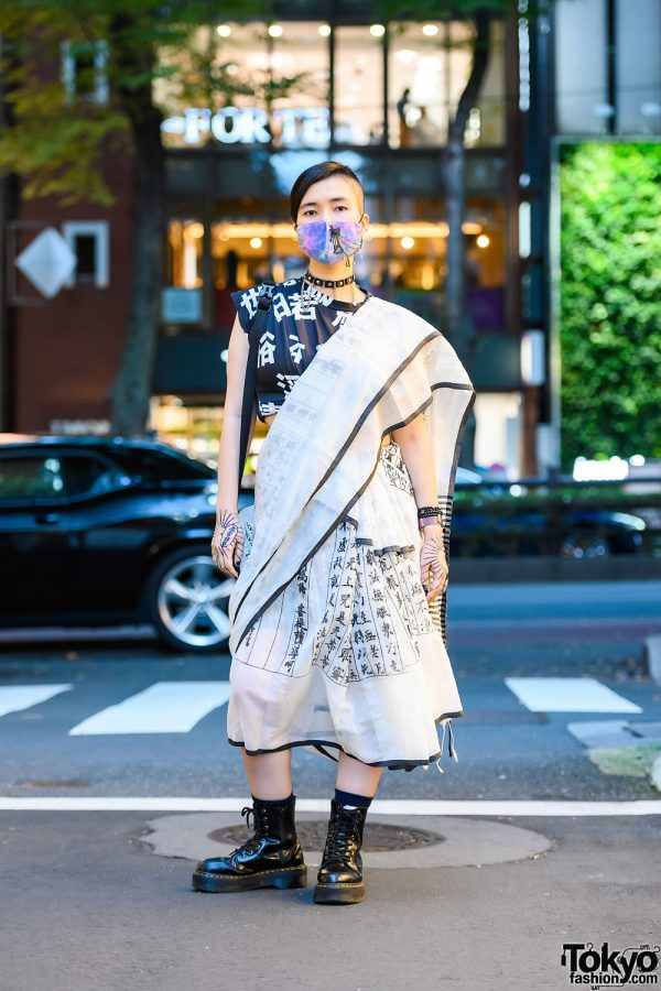 Fatherland India Sari Street Style in Harajuku w/ Shaved Hairstyle, Henna Body Art, ACDC Rag, Gugu Kokura Sling Bag & Dr. Martens