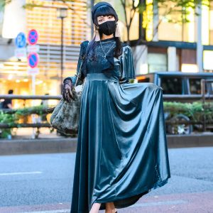 Pameo Pose Japan Green Velvet Dress w/ Pillbox Hat, Lace Gloves, Snidel Furry Bag, Tassel Earrings, Cross Necklace & Low Wedge Shoes
