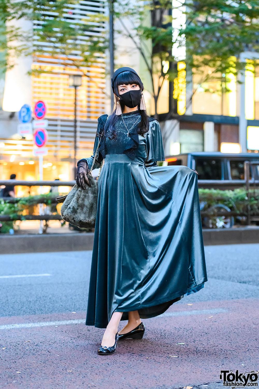 Pameo Pose Japan Green Velvet Dress w/ Pillbox Hat, Lace Gloves, Snidel Furry Bag, Tassel Earrings, Cross Necklace & Low Wedge Shoes
