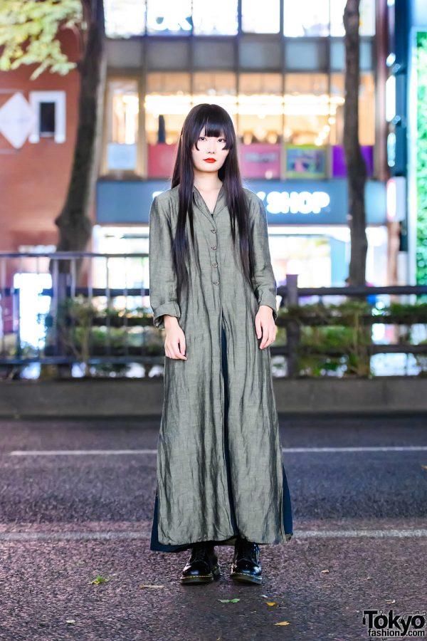 Minimalist Japanese Street Fashion w/ Long Black Hair Style, Vintage Linen Coat, Uniqlo, Muji & Dr. Martens Boots