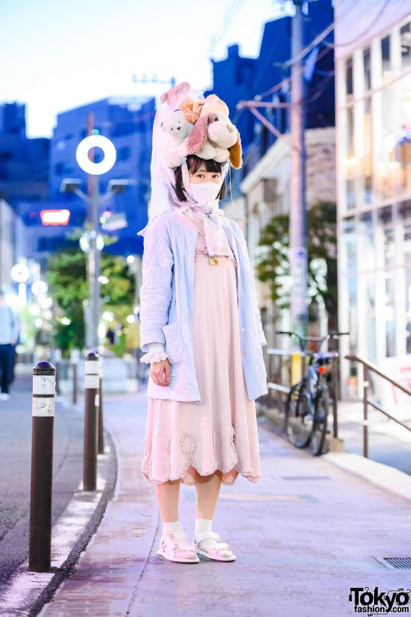 Japanese Plushie Headdress in Harajuku w/ Oyama Shrine Necklace, Kinji Resale Jacket, Memuse Ruffle Dress & Melissa Sandals