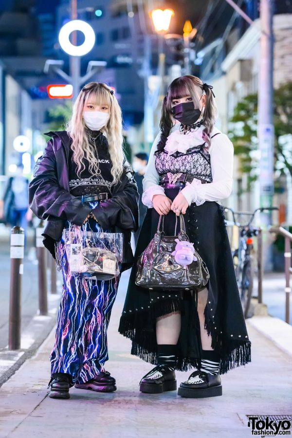 Dark Harajuku Girl Street Styles w/ Chain Harness & Choker, Focus Jacket, Lightning Pants, Remake Skirt, Vivienne Westwood, Korean Tops & Lover Soul Creepers