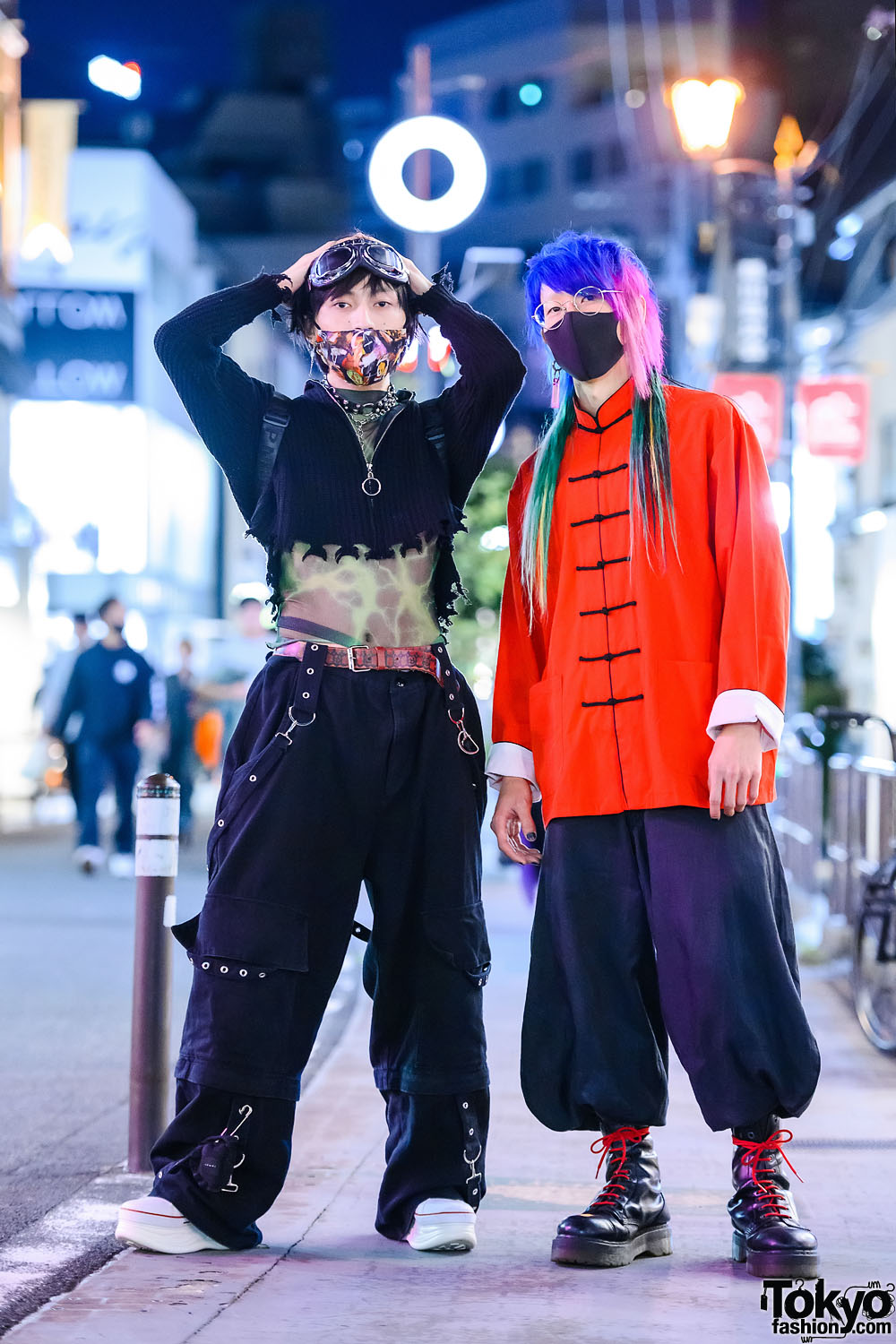 Tokyo Street Styles w/ Multicolored Hair, Goggles, MYOB Tattoo Shirt, Ikumi, Mandarin Collar Shirt, Balloon Pants, Ripndip Plushie Backpack, Dr. Martens & Yosuke