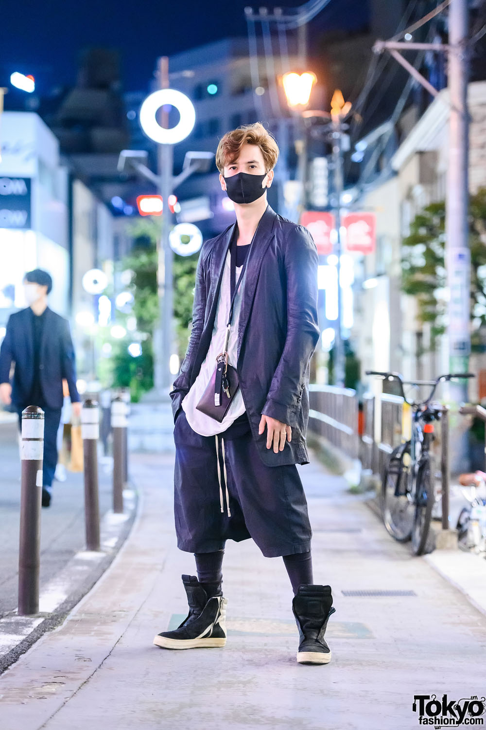 Rick Owens Monochrome Tokyo Street Style w/ Face Mask, Neck Wallet, Twice Keychain, Layered Shirts & Suede High Top Sneakers