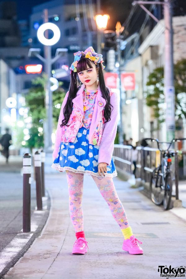 6%DOKIDOKI Kawaii Street Style w/ Twin Tails, Glitter Makeup, Big Hair Bows, Furry Jacket, Cloud Print Skirt, Claire's & Puma Sneakers
