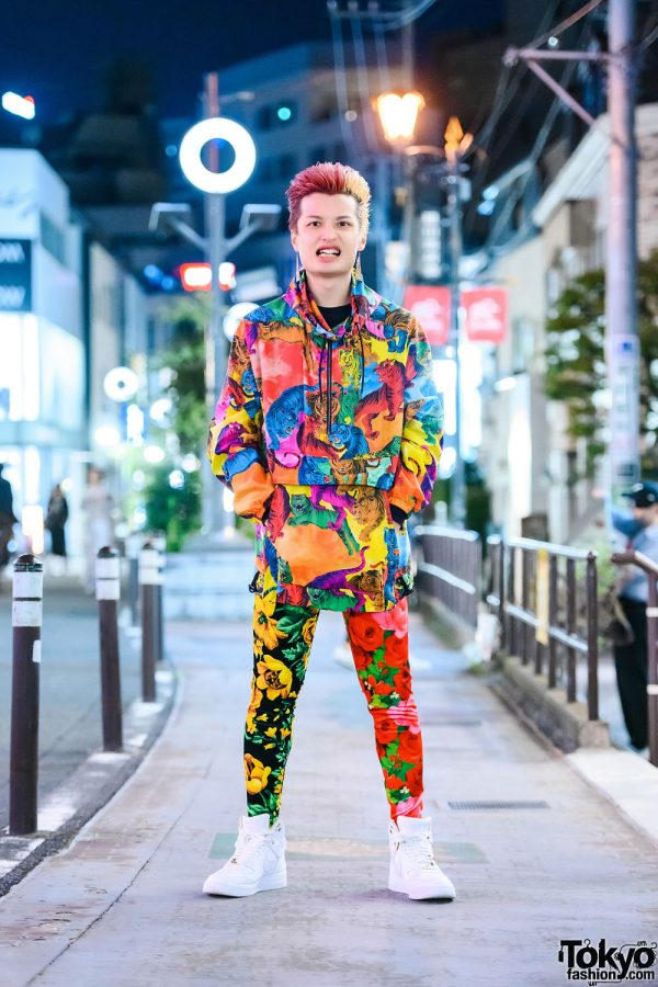 Colorful Print on Print Menswear Tokyo Street Style w/ Two-Tone Hair, Valentino Tiger Jacket, Richard Quinn Floral Print Tights & Nike Sneakers