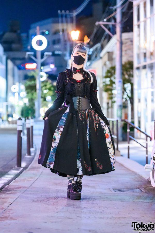 Gothic Tokyo Street Style w/ OzzOn Floral Panel Bow Skirt, Corset & Yosuke Platform Boots