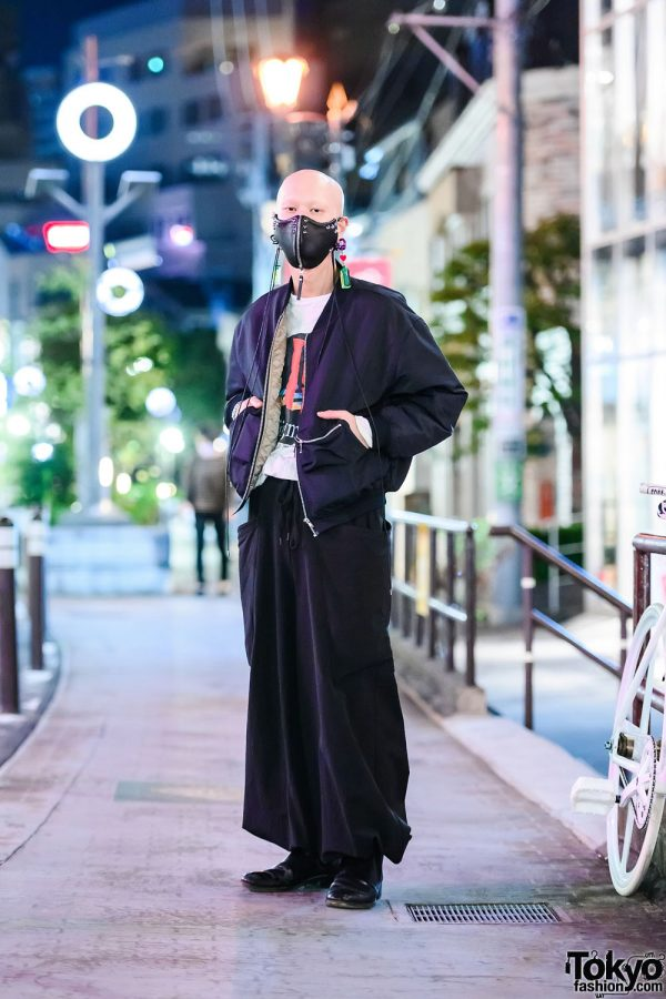 Monochrome Japanese Streetwear Style w/ Industrial Piercings, De Outsider Studded Leather Mask, Liebherr Earrings, Michiko Koshino Bomber Jacket, Depression Pants & Loake Boots