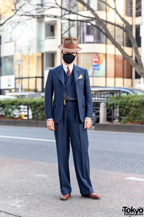 Bespoke 1930s Pinstripe Suit by Old Hat Tokyo, Pocket Watch, and Dress Shoes in Harajuku