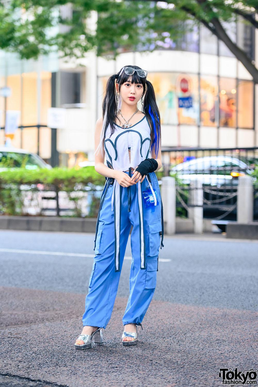 Harajuku Girl in M.Y.O.B Tokyo Street Style w/ Twin Tails, Cargo Pants, WEGO Accessories, Fancy Mental Bag & Kiko Mizuhara Platform Heels