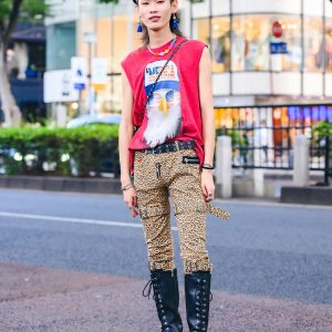 "Leopard Print Harajuku Fashion w/ ""Merica"" Eagle Tee, Another Youth Pants, Harry Mason Bag, Tassel Earrings, Beaded Necklace, Silver Accessories & Tall Lace-Up Leather Boots"