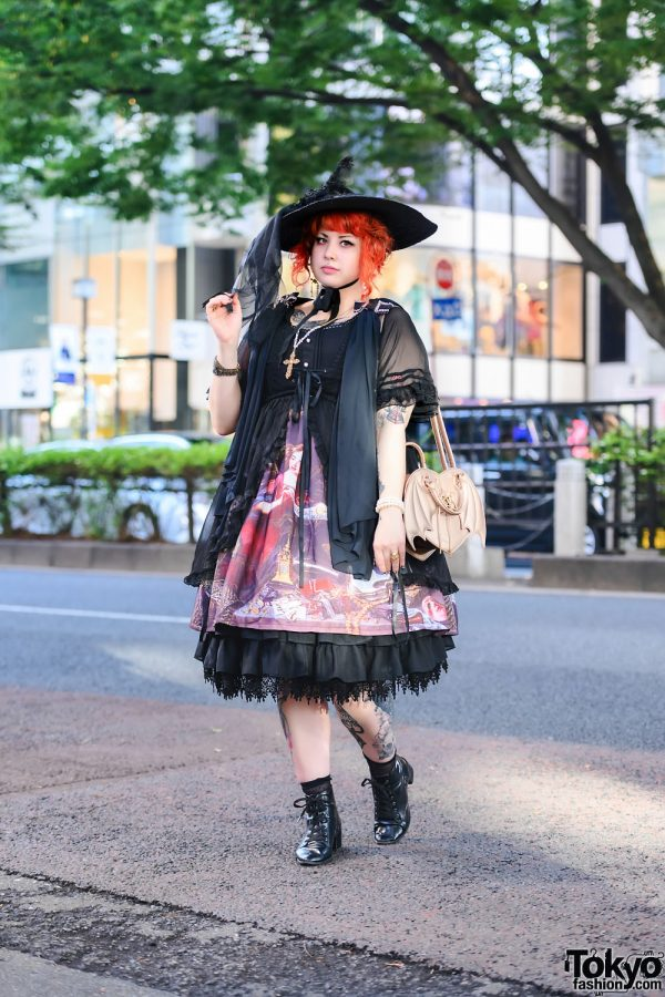 Brazilian Tattoo Artist in Gothic Harajuku Street Style w/ Medusa Piercing, Cameo Jewelry, Graphic Dress, Alice and the Pirates, Angelic Pretty, Winged Heart Bag & Boots