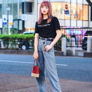 Tokyo Streetwear Style w/ Pink Hair, Un by Tomoyo Yoshida Rings, Salix T-Shirt, Dairiku Pants, Banoll Bucket Bag & Maison Margiela Tabi Shoes