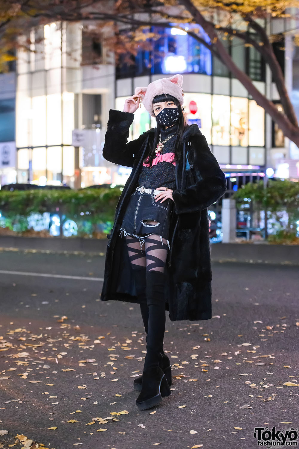 Japanese Student In Fuzzy Cat Ear Hat w/ Comme Ca Du Mode Coat, Lily Brown Mock Neck, Spiral Girl Denim Shorts, Vivienne Westwood Belt, Louis Vuitton Scarf, Gucci, Milk Accessories & Mouse Thigh-High Boots