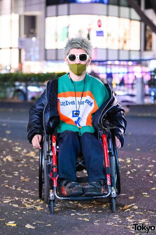 Kidill Japan Harajuku Street Style w/ Nozomi Ishiguro Asymmetric Sunglasses, 99%IS Jacket, Knit Top & Vintage Pants