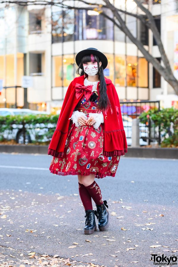 Angelic Pretty Lolita Street Style by RinRin Doll w/ Boater Hat, Lyra by Miki Celestial Earrings, Vivienne Westwood, Anna Sui, Cape Coat, AP Print Lolita Dress & Milk Boots