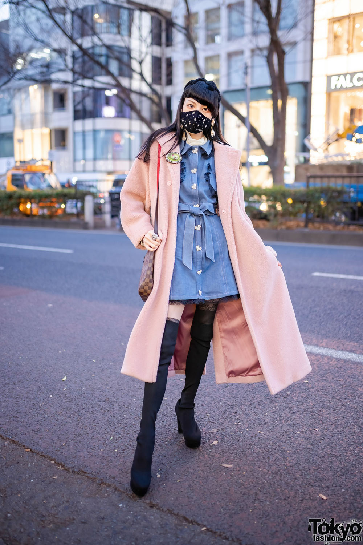 Harajuku Street Style w/ Asymmetric Bangs, Complex Biz Geometric Flower Drop Earrings, Rodeo Crowns Furry Coat, Swankiss Denim Dress, Louis Vuitton Bag & Spiral Girl Sock Boots