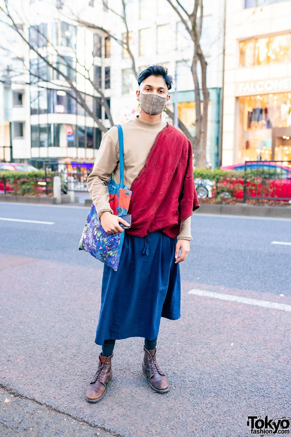 Tokyo Street Style w/ Plaid Mask, Shawl Over Sweater, Linen Skirt from Nepal, Painted Tote & Lace-Up Boots